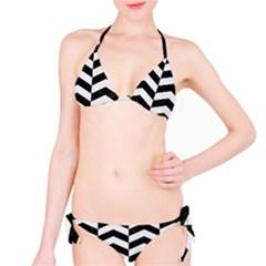 Chevron2 Black Marble & White Linen Bikini Set