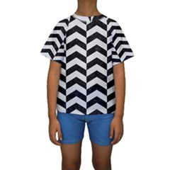 Chevron2 Black Marble & White Linen Kids  Short Sleeve Swimwear