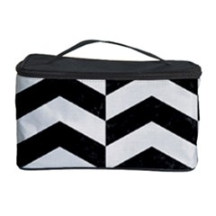 Chevron2 Black Marble & White Linen Cosmetic Storage Case