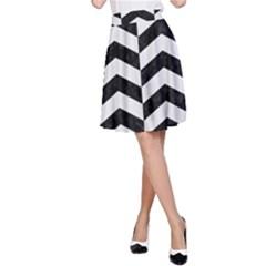 Chevron2 Black Marble & White Linen A Line Skirt