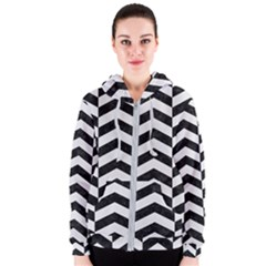 Chevron2 Black Marble & White Linen Women s Zipper Hoodie