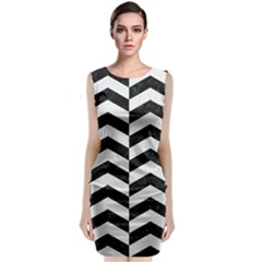 Chevron2 Black Marble & White Linen Classic Sleeveless Midi Dress
