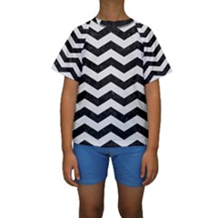 Chevron3 Black Marble & White Linen Kids  Short Sleeve Swimwear