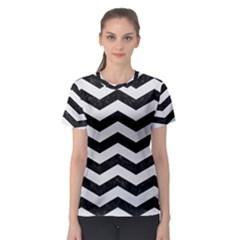 Chevron3 Black Marble & White Linen Women s Sport Mesh Tee