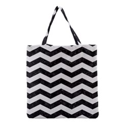Chevron3 Black Marble & White Linen Grocery Tote Bag