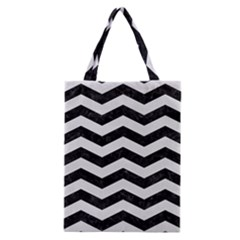 Chevron3 Black Marble & White Linen Classic Tote Bag