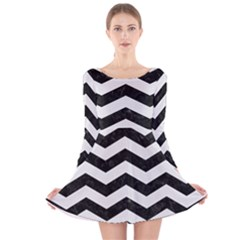 Chevron3 Black Marble & White Linen Long Sleeve Velvet Skater Dress