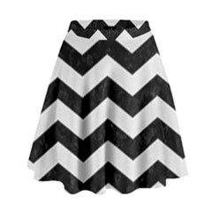 Chevron3 Black Marble & White Linen High Waist Skirt