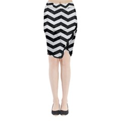 Chevron3 Black Marble & White Linen Midi Wrap Pencil Skirt