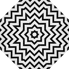 Chevron9 Black Marble & White Linen Folding Umbrellas