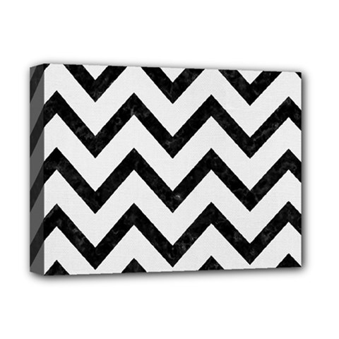 Chevron9 Black Marble & White Linen Deluxe Canvas 16  X 12