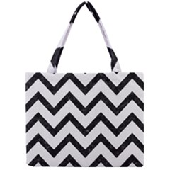 Chevron9 Black Marble & White Linen Mini Tote Bag