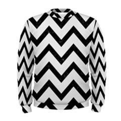 Chevron9 Black Marble & White Linen Men s Sweatshirt