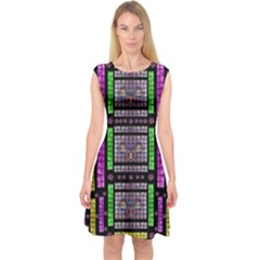 This Is A Cartoon Circle Mouse Capsleeve Midi Dress