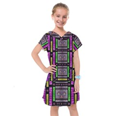 This Is A Cartoon Circle Mouse Kids  Drop Waist Dress