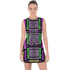 This Is A Cartoon Circle Mouse Lace Up Front Bodycon Dress