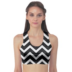 Chevron9 Black Marble & White Linen (r) Sports Bra