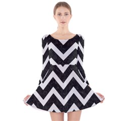 Chevron9 Black Marble & White Linen (r) Long Sleeve Velvet Skater Dress