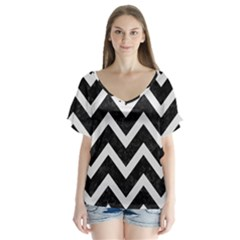 Chevron9 Black Marble & White Linen (r) V Neck Flutter Sleeve Top