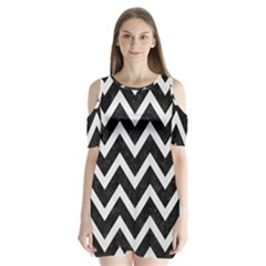 Chevron9 Black Marble & White Linen (r) Shoulder Cutout Velvet One Piece