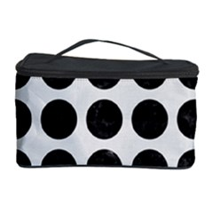 Circles1 Black Marble & White Linen Cosmetic Storage Case
