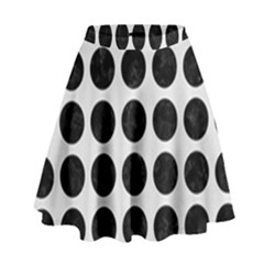 Circles1 Black Marble & White Linen High Waist Skirt