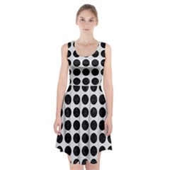 Circles1 Black Marble & White Linen Racerback Midi Dress
