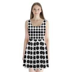 Circles1 Black Marble & White Linen Split Back Mini Dress