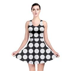 Circles1 Black Marble & White Linen (r) Reversible Skater Dress