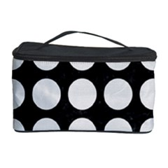 Circles1 Black Marble & White Linen (r) Cosmetic Storage Case