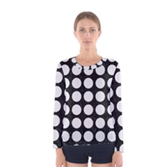 Circles1 Black Marble & White Linen (r) Women s Long Sleeve Tee