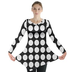 Circles1 Black Marble & White Linen (r) Long Sleeve Tunic