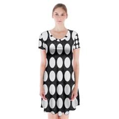 Circles1 Black Marble & White Linen (r) Short Sleeve V Neck Flare Dress