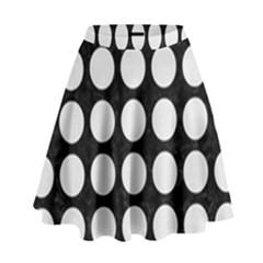 Circles1 Black Marble & White Linen (r) High Waist Skirt
