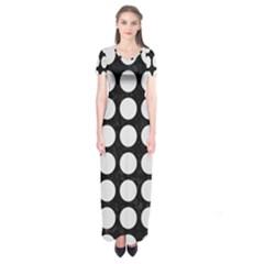 Circles1 Black Marble & White Linen (r) Short Sleeve Maxi Dress