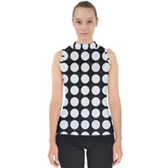 Circles1 Black Marble & White Linen (r) Shell Top