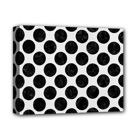 Circles2 Black Marble & White Linen Deluxe Canvas 14  X 11