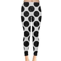 Circles2 Black Marble & White Linen Leggings