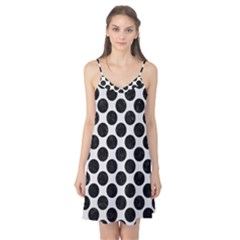 Circles2 Black Marble & White Linen Camis Nightgown