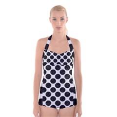 Circles2 Black Marble & White Linen Boyleg Halter Swimsuit