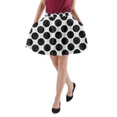 Circles2 Black Marble & White Linen A Line Pocket Skirt