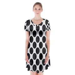 Circles2 Black Marble & White Linen Short Sleeve V Neck Flare Dress
