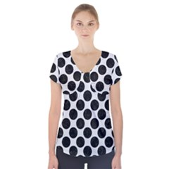 Circles2 Black Marble & White Linen Short Sleeve Front Detail Top