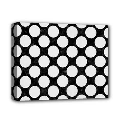 Circles2 Black Marble & White Linen (r) Deluxe Canvas 14  X 11