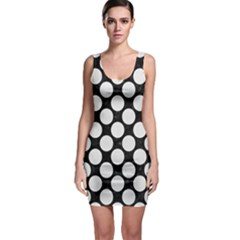 Circles2 Black Marble & White Linen (r) Bodycon Dress