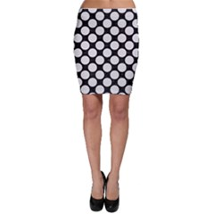 Circles2 Black Marble & White Linen (r) Bodycon Skirt