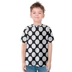 Circles2 Black Marble & White Linen (r) Kids  Cotton Tee