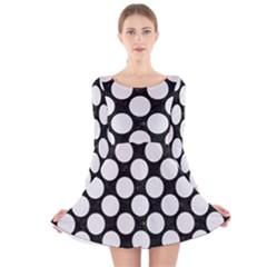 Circles2 Black Marble & White Linen (r) Long Sleeve Velvet Skater Dress