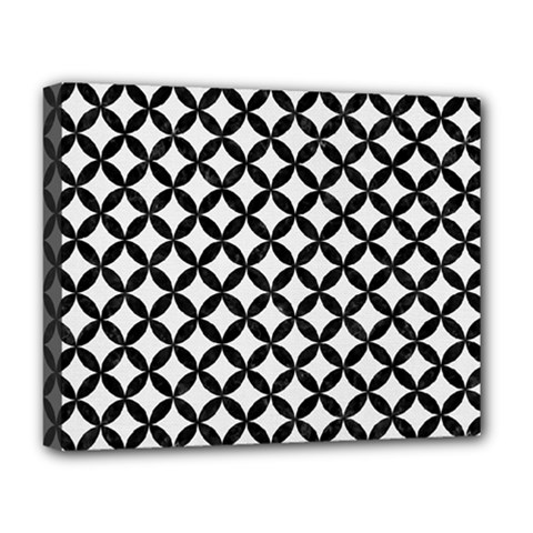 Circles3 Black Marble & White Linen Deluxe Canvas 20  X 16
