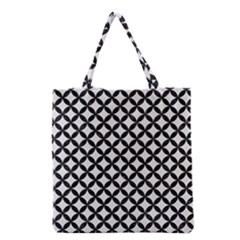 Circles3 Black Marble & White Linen Grocery Tote Bag